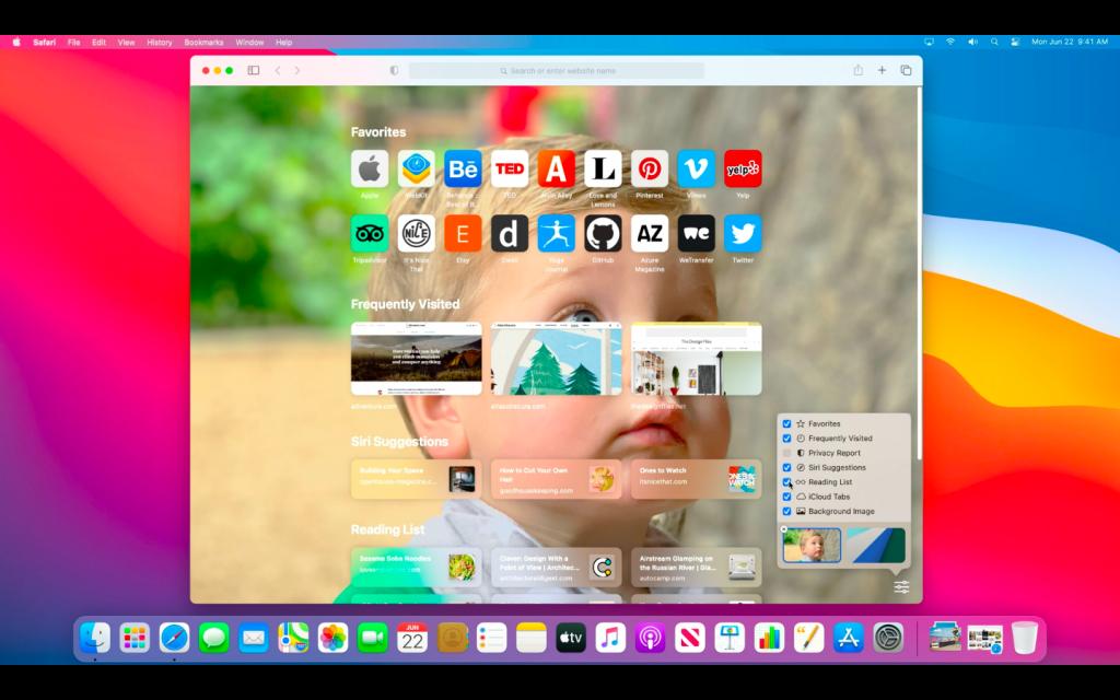 「macOS Big Sur」Safari背景設定