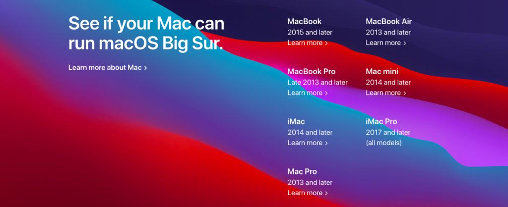 macOS Big Sur対応しているMac一覧