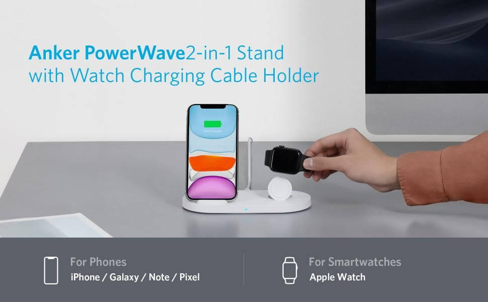 Anker PowerWave 2-in-1 Stand with Watch Charging Cable Holder ワイヤレス充電器