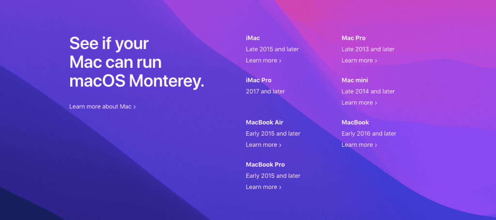 macOS Monterey(モントレー)の対応機種一覧