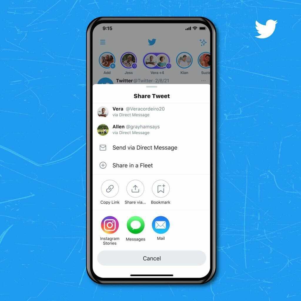 Twitter Instagramストーリーズ共有ボタンを追加