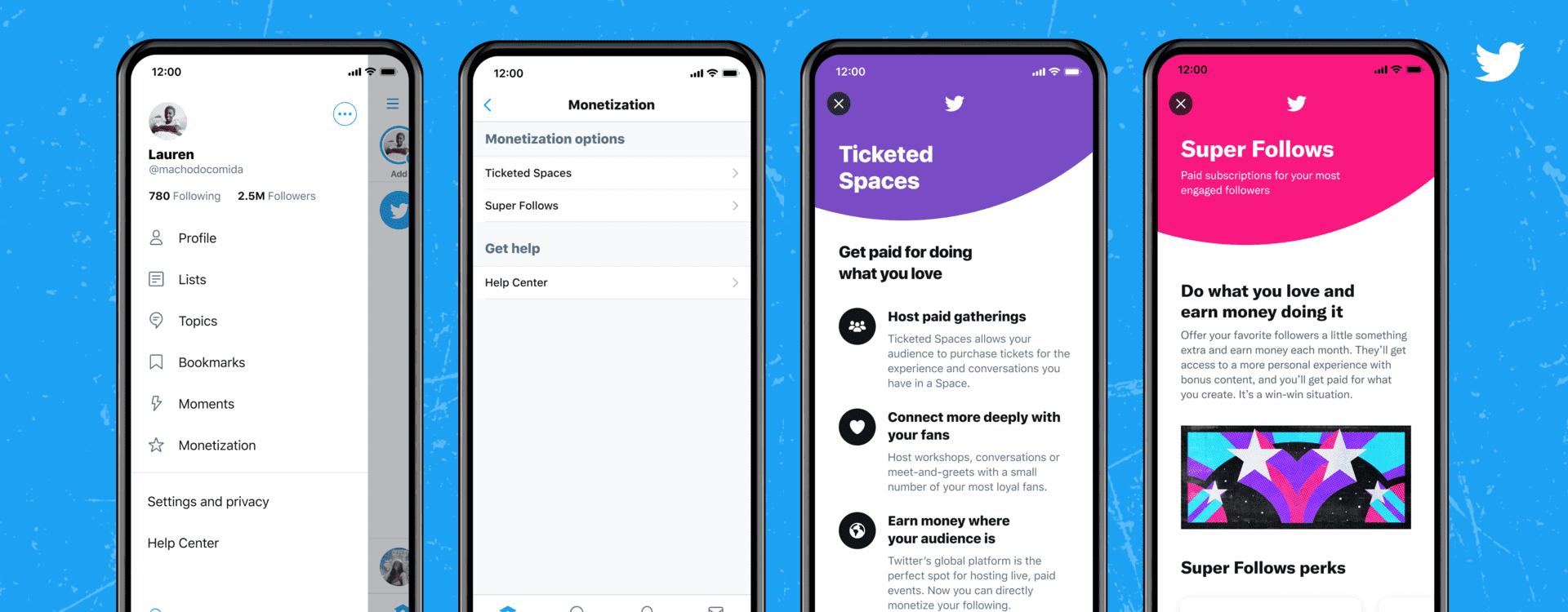 Twitter 新サービスチケット制「Spaces」と「Super Follows」開始