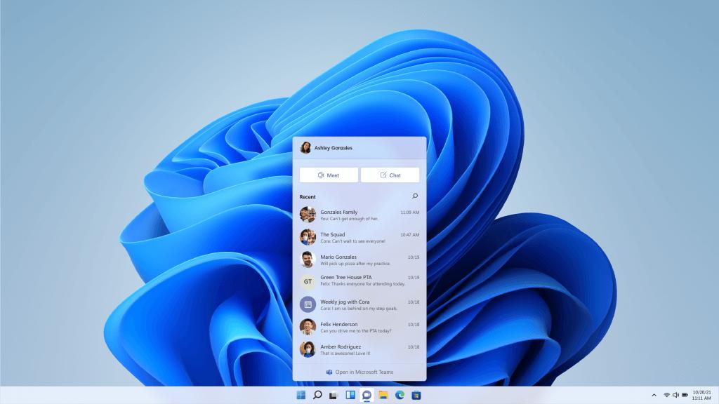 Windows 11 コンタクト画面