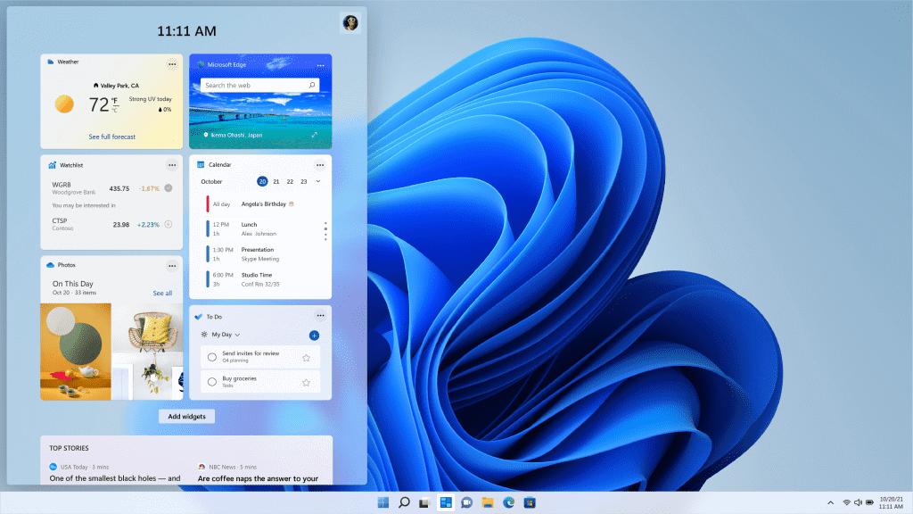 Windows 11 ウィジェット画像